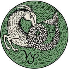 capricorn tattoo with symbol in green goat