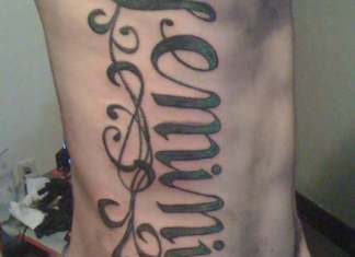 Lettering Nice Gemini Tattoo On Side Rib For Men