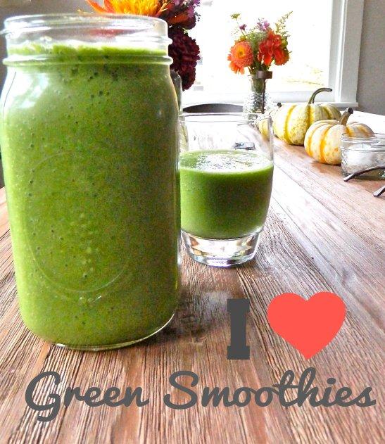 Kale Ginger Cucumber Celery Avocado Banana Green Smoothie via Simply Real Health