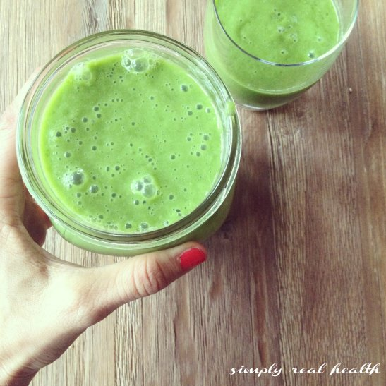 Kale Ginger Cucumber Celery Avocado Banana Green Smoothie // Simply Real Health