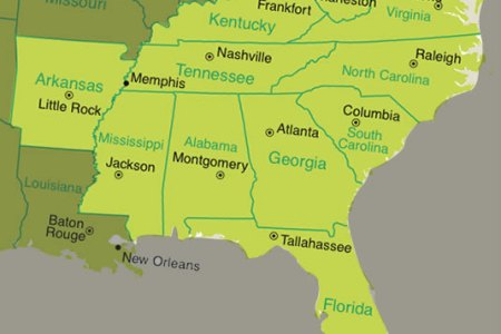 Map Of The Southeastern States - Map of southeastern states