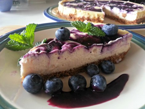 sliced Blueberry Goat Cheese Cheesecake