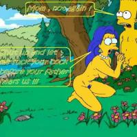 A horny naked Marge sucking Bart's hard cock in the woods.