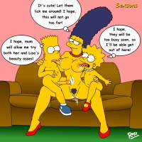 Here is Marge on the couch with Lisa sitting naked on one lap and Bart naked on the other lap and both of them licking Marge's breats.
