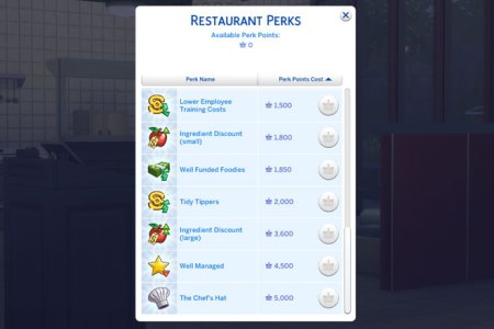 perk point cheats sims 4 dine out