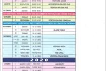 Calendário Sincomerciário 2019 e 2020