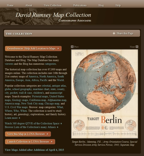 web de la colección de mapas históricos David Rumsey