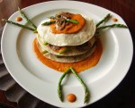 Corn Tortilla and Veggie Stacks with Red Pepper Coulis