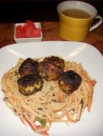 Creamy Tahini Soba Noodles with Black Sesame Tofu Meatballs