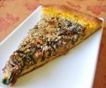 Caramelized Red Onion, Spinach, and Pumpkin Hummus Pizza on Rosemary Crust