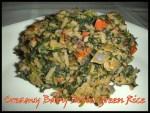 Creamy Baby Bella Green Rice {Gluten-Free}