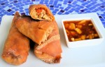 Baked Tofu and Veggie Egg Rolls with Sweet and Sour Sauce