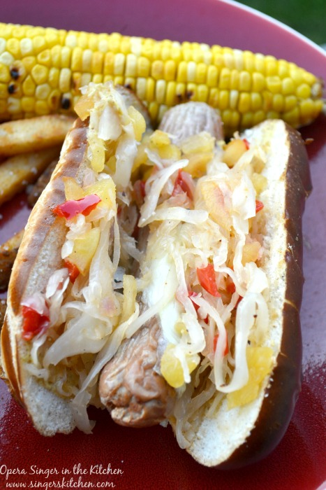 the brats grilled we added a soft cheese on top, placed in the grilled ...