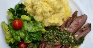Texas de Brazil Flank Steak Brazilian Style and Chimichurri Sauce