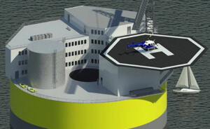 Concept drawing of an offshore nuclear plant. The floating structure would house staff and include a helipad, like an offshore oil rig. Image Credit: MIT