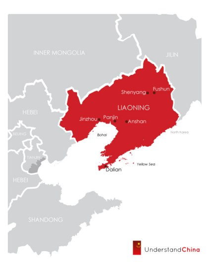 Liaoning, with Dalian as the point of the export-import spear. via Understanding China