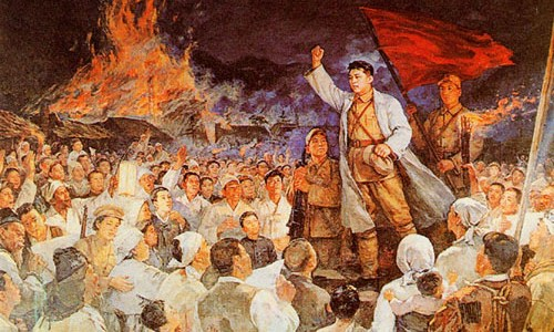 Kim Il-sung addresses the partisan troops prior to the Battle of Pochonbo in 1937. | Image: KCNA