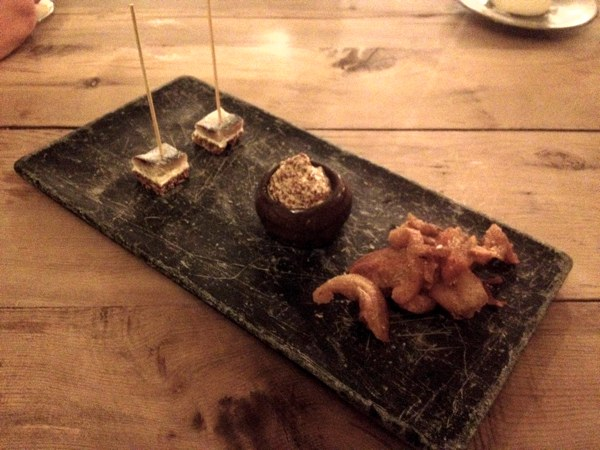 pickled herring & pork scratchings