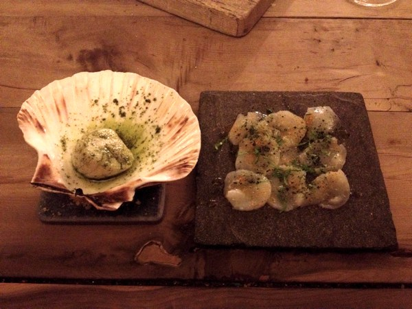 Scallop in parsley butter with scallop carpaccio