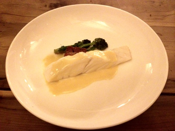 Turbot with vin jaune and smoked pork