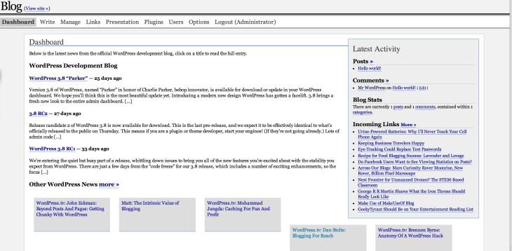 The WordPress 1.5 interface