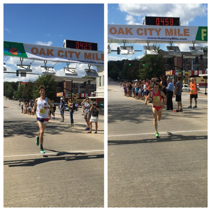 Isaac Presson and Andie Cozzarelli were winners of the inaugural Oak City Mile