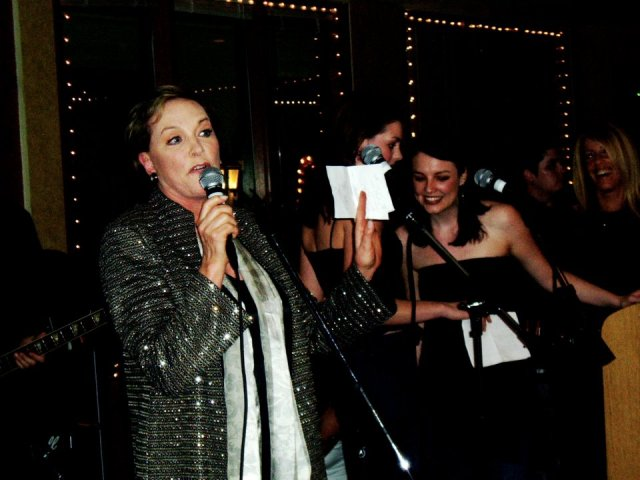 At the end of Princess Diaries 2, we made a band for the wrap party. I played guitar and sang along with Julie Andrews, Anne Hathaway, Chris Pine, Garry Marshall and few others from the crew!