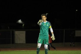 Senior gk Nick Briguglio salutes the camera.