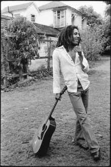 """Bob Marley, Kingston, Jamaica, 1976 Burnett on Marley, whom he interviewed and photographed at Marley's Kingston home: """"I realized, in the midst of shooting these pictures, that I was hearing the voice of someone who was wise, someone who had wisdom. From a tough background to such poetry, it was amazing to see what this young man (he was a year older than me) was able to do."""""""