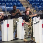 The The 28th Infantry Division Band, PA National Guard entertains at the Military Appreciation tailgate at the Bryce Jordan Center. Military Appreciation Day, Penn State vs. Army, Oct. 3, 2015.