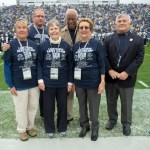 Honorary coin-toss participants with Penn State President Eric Barron. Military Appreciation Day, Penn State vs. Army, Oct. 3, 2015.