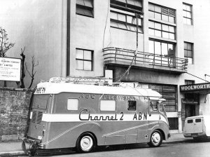 'Outside Broadcast Van' outside Kellett St, Kings Cross c1958