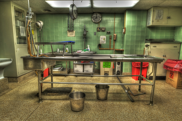 1950s-era morgue that has not been remodeled since it was built [Brook Ward under a CC BY-NC 2.0 license]