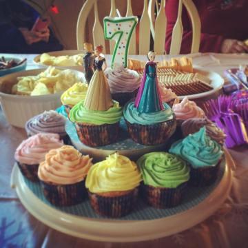 Rainbow cupcakes for the birthday girl.