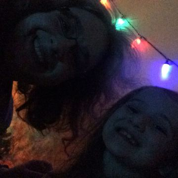 Exhausted mother-daughter NYE selfie