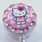 SIZZLE CITY Custom Retractable ID Badge Reels: Pink Hello Kitty Checkered