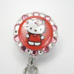SIZZLE CITY Custom Retractable ID Badge Reels: Ruby Red & Light Pink Hello Kitty