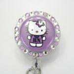 SIZZLE CITY Custom Retractable ID Badge Reels: Candy Purple Hello Kitty RN
