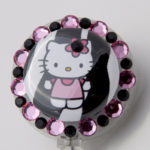 SIZZLE CITY Custom Retractable ID Badge Reels: Pink & Black Zebra Hello Kitty