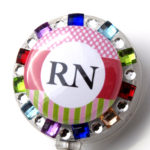 SIZZLE CITY Custom Rhinestone Retractable ID Badge Reels: Rainbow RN