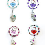 SIZZLE CITY Love Kitty Custom Rhinestone Retractable ID Badge Reel Holder Collection
