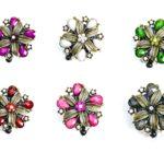 SIZZLE CITY Custom Retractable Rhinestone ID Badge Reels: Hawaiian Colored Hibiscus Flower Badge Reels