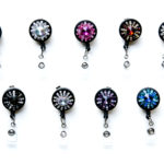 SIZZLE CITY Custom Colored Bling Rhinestone Star Burst Retractable ID Badge Reel