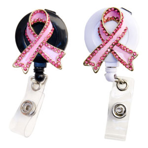 SIZZLE CITY Custom Bling Rhinestone Pink Breast Cancer Awareness Ribbon Retractable ID Badge Reel