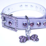 Purple Leather Bling Rhinestone Dog Collar with Bling Doggie Bone Charm