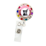 SIZZLE CITY Custom Bling Rhinestone Rainbow Mortar & Pestle RX Pharmacist Badge Reel Retractable ID Badge Holder