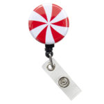 SIZZLE CITY Custom Christmas Candy Cane Badge Reel Retractable ID Badge Holder