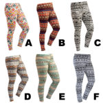 Women's Custom Color Aztec Pattern Print Tights Stretch Leggings: Aztec Leggings Group Shot 1