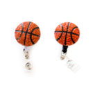 SIZZLE CITY Custom Bling Rhinestone 3D Basketball Badge Reel Retractable ID Badge Holder: Group Shot