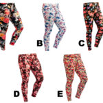 Women's Custom Color Floral Pattern Print Leggings Stretch Tights: Floral Leggings Group Shot 1